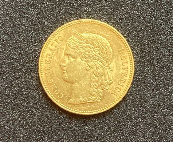 Złota moneta 20 Franków 1891 r. Szwajcaria