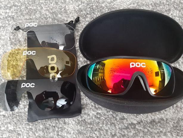 Okulary Lustrzane Sportowe Polaryzacja UV400 Rowerowe POC Jak Oakley