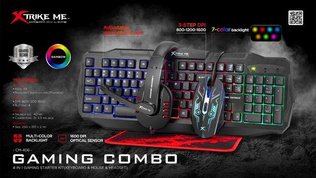 Игровой комплект Наушники Клавиатура Мышка Коврик XTRIKE ME CM406