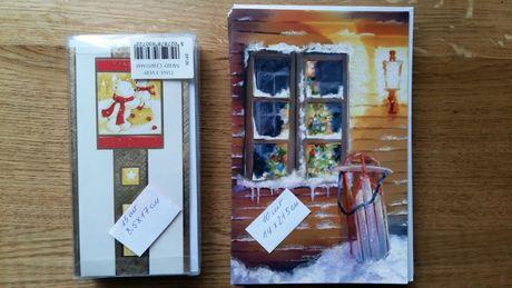 2 набори новорічні та різдвяні листівки та конверти откритки новий год