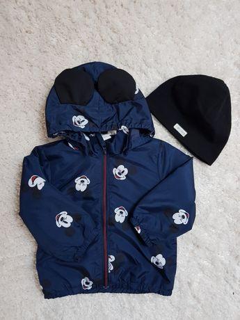 H&M 80 kurtka kurteczka z myszką miki + czapka MICKEY MOUSE