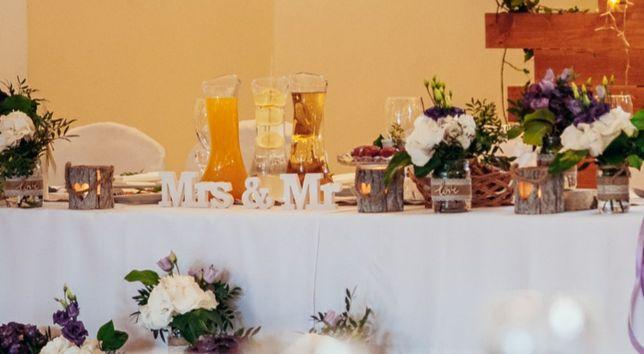 Napis Mr & Mrs biały. Ślubne dekoracje, wesele.