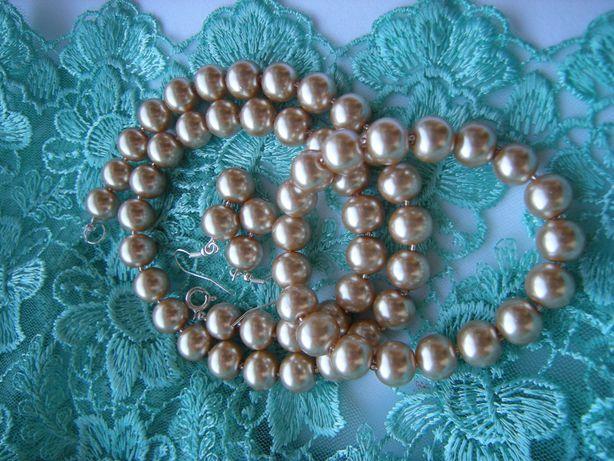 komplet - kolczyki bransoletka naszyjnik blado złote szklane perełki
