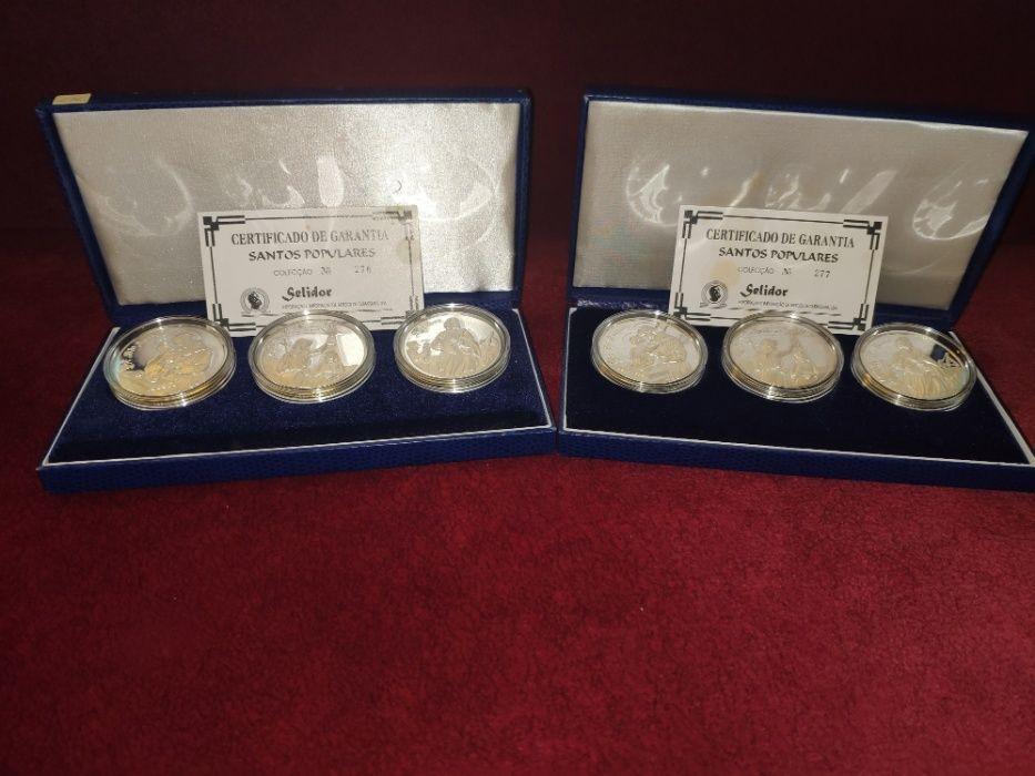Medalhas Comemorativas Santos Populares em Prata Fina