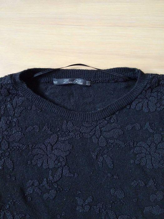 Sweter Zara m 36 czarny wytłoczenie wełna Stężyca - image 1