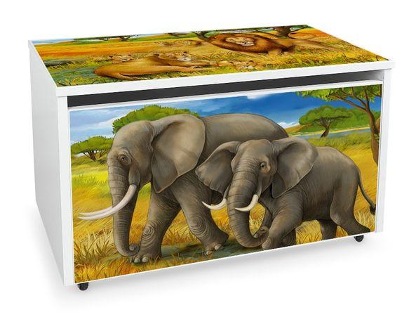 Duża drewniana skrzynia na zabawki XXL na kółkach Motyw: Safari