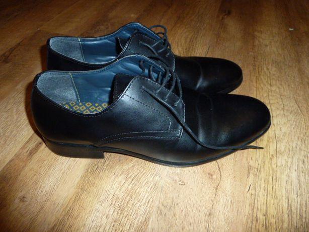 next Черные кожаные туфли Некст, р 42 UK 8, стелька 28,5 см, сделаны в
