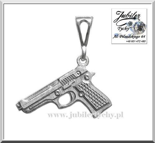 Srebrny wisiorek pistolet zawieszka Ag 925 silver gun Jubiler Tychy