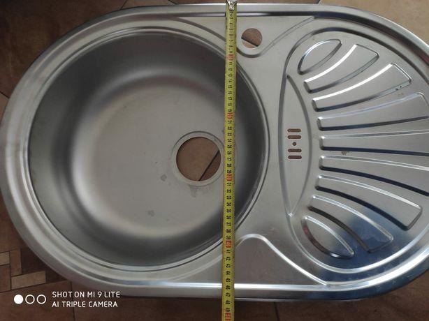 Zlewozmywak srebrny kuchenny jednokolorowy z ociekaczem
