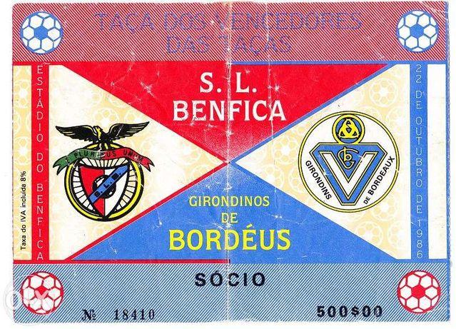 Bilhete Futebol - Benfica - Bordéus 1986