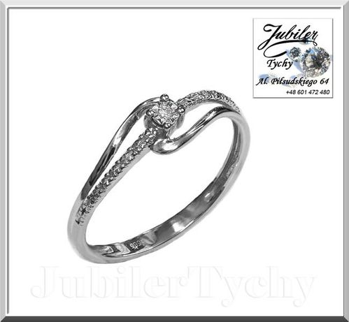 Złoty pierścionek z brylantem diament BIAŁE złoto Au 585 brylanty