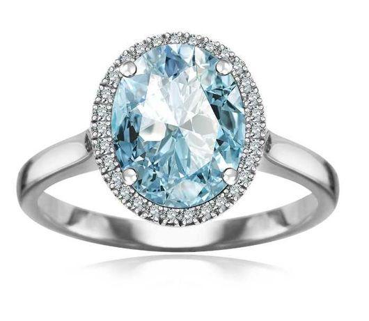 Pierścionek zaręczynowy, złoto,diamenty,blue topaz YesYubileSky