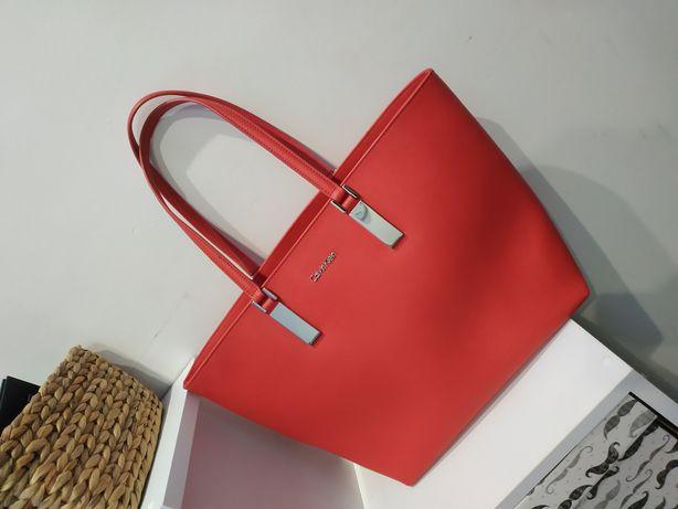 Torebka skórzana Calvin Klein czerwona bag skóra SKARLETT shopper