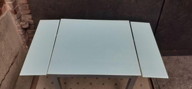 Solidny Szklany / blat / rozsuwany stół na metalowych nogach 80,5x85,5