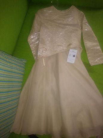 Sukienka wizytowa ecru złota roz 134