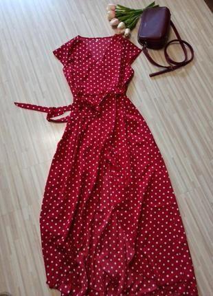 Шикарное макси платье в горошек на запах красное алое в горох 48