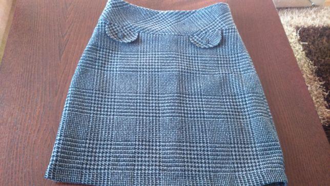 Spódnica stalowa Okay 36 ,ciepła spódniczka z podszewką srebro