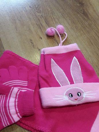 Czapka, szal, rękawiczki- komplet dla dziewczynki