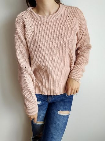 Sweter Cubus S 36 Różowy Pudrowy Róż Bawełna