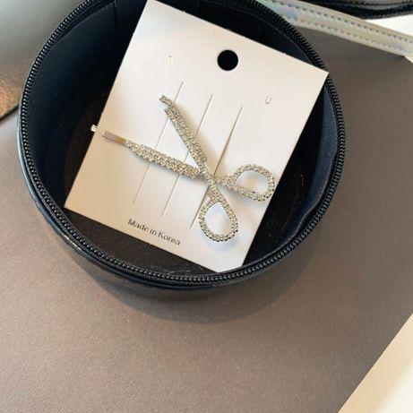 wsuwka do włosów nożyczki kolor srebrny kryształki hit Korea