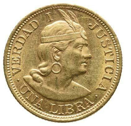 Złota moneta 1 libra 1917 r. Peru
