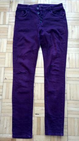 Spodnie dopasowane burgundowe bordowe S / M 38