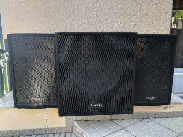 Sistema de Som (PA) Ibiza 2400W + Mesa Mistura BEHRINGER 1622FX