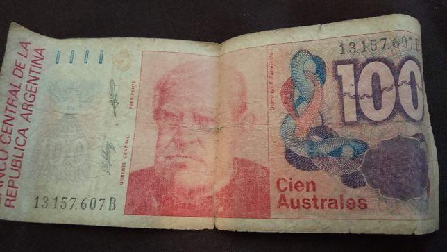 Купюра 100 Cien Avstrales Аргентина