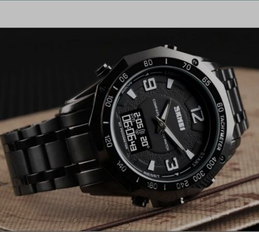 Часы мужские Skmei Kompass PRO Black с металлическим браслетом + компа