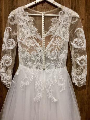 Suknia ślubna biała roz.34/36 + szal + welon 2m