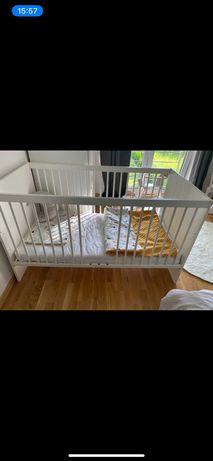 łóżeczko drewniane rozkładane 2w1, 140x70 białe z materacem