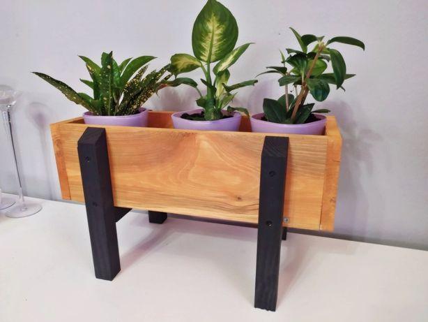 Mini drewniana doniczka na zioła, skrzynka na kwiaty, zielnik