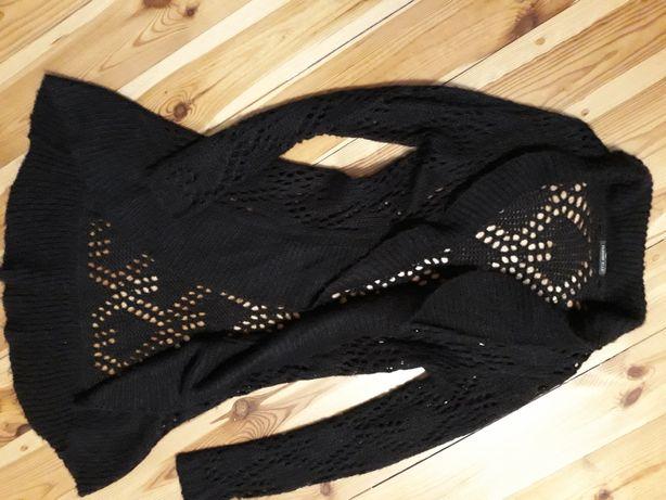 Ażurowy brązowy swetr
