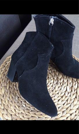ZARA kowbojki botki czarne 36 jak nowe cieple zamsz skóra skórzane