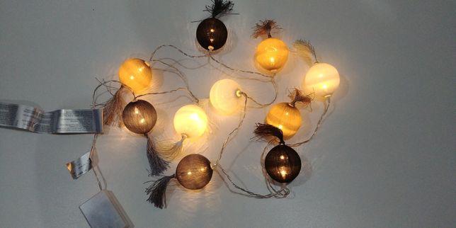 Girlanda Cotton Balls świecące kulki 10szt. z frędzelkami NOWE