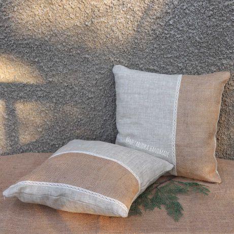 Набор из 2 подушек из льна ручной работы