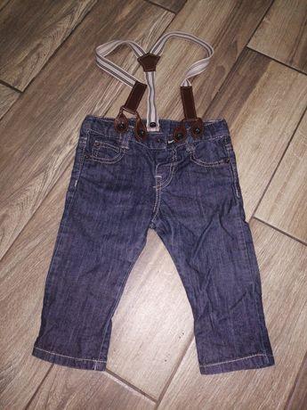 74 6 do 9 miesięcy rok roczek spodnie szelki jeans super stan