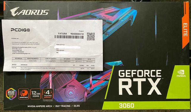 Placa Gráfica Gigabyte Aorus GeForce RTX 3060 ELITE 12Gb GDDR6