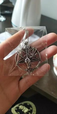 Naszyjnik pentagram satan kozioł łańcuch metal