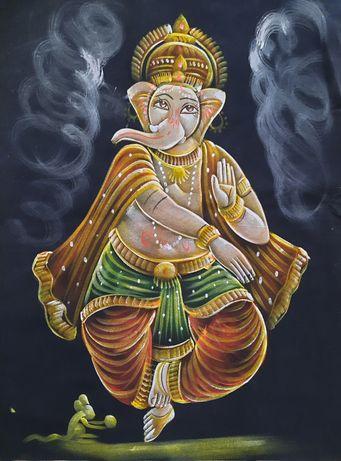 Pintura feita em pano da Ganesha