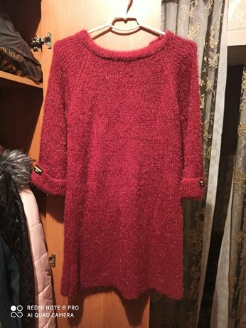 Теплый свитер платье
