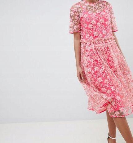 ASOS sukienka Wesele BOGATO ZDOBIONA Cekiny różowa kwiaty 32 34 36 xxs