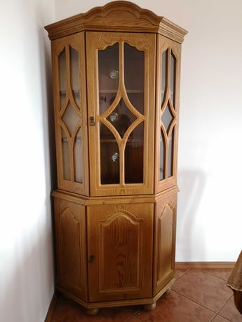 Piękna witryna szklana designerska szafa regał komoda drewniana Poznań