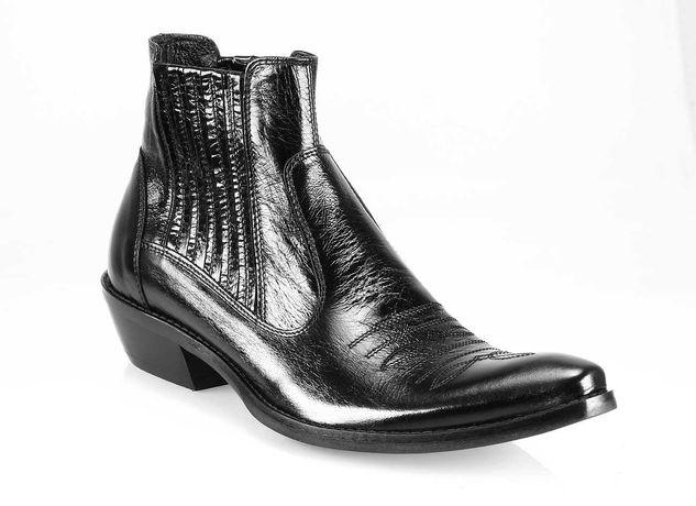 Kowbojki męskie skórkowe wysokie haft czarne cowboy boots 44