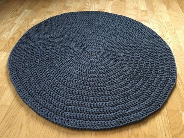 Okrągły dywan ze sznurka bawełnianego, średnica 100 cm, hand-made