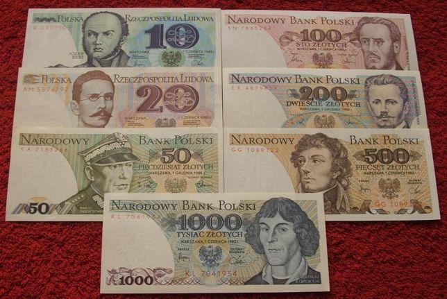 POLSKA PRL ZESTAW (1) Kolekcjonerskie Banknoty Zestaw - 7 sztuk UNC