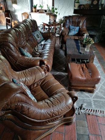 Piękny zestaw wypoczynkowy Kanapa + 2 fotele + pufa