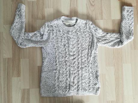 Jasny sweter warkocze XS H&M Nowy
