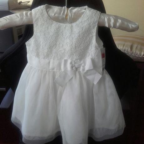 Sukienka do chrztu balowa elegancka r.68-74