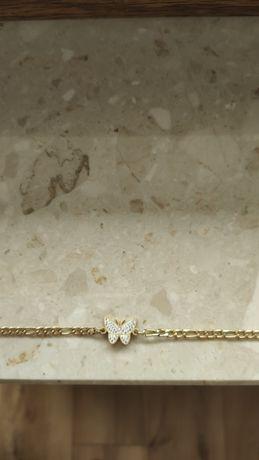 Łańcuszek  Figaro choker motyl cyrkonie stal chirurgiczna Nowy
